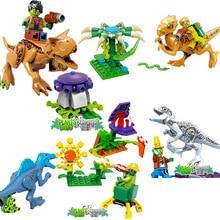 4pcs/lot Plants Vs Zombies Jurassic World Dinosaurs Sunflower Figures Block Set Building Toy For Girls