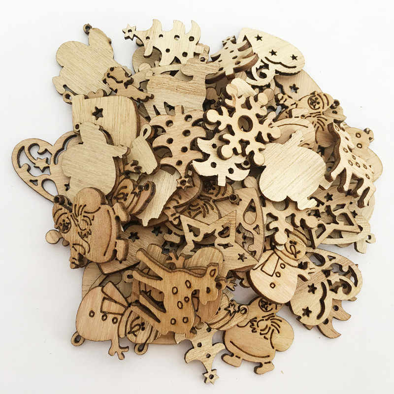 50/100PCS Wooden Christmas Tree Ornaments Hanging Pendants Merry Christmas Decoration for Home New Year decor Craft Navidad 2018