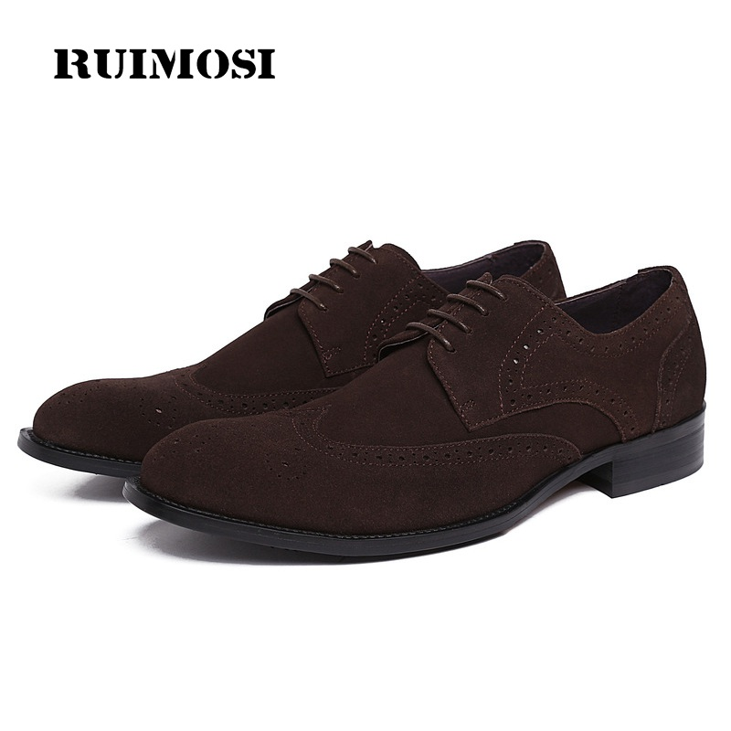 RUIMOSI Basic Cow Suede Man Wing Tip Brogue Shoes Genuine Leather Oxfords Round Toe Derby Men's Handmade Footwear Flats FK90