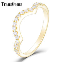 TransGems 14K Yellow Gold FG Color Hearts and Arrows Cut Round Moissanite Half Eternity Wedding Band for Women Wedding Gift