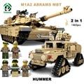 Grandes blocos de construção kit 2em1 1463 pcs tanque abrams militar hummer exército modelos de construção de brinquedos kazi bricks compatível com lego