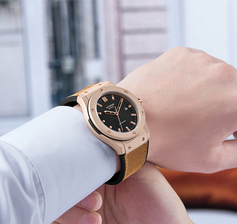 Hommes mode cuir automatique montre Reloj Hombre 2018 affaires mécaniques montres mâle horloge RUIMAS montres miborough 8215 - 5