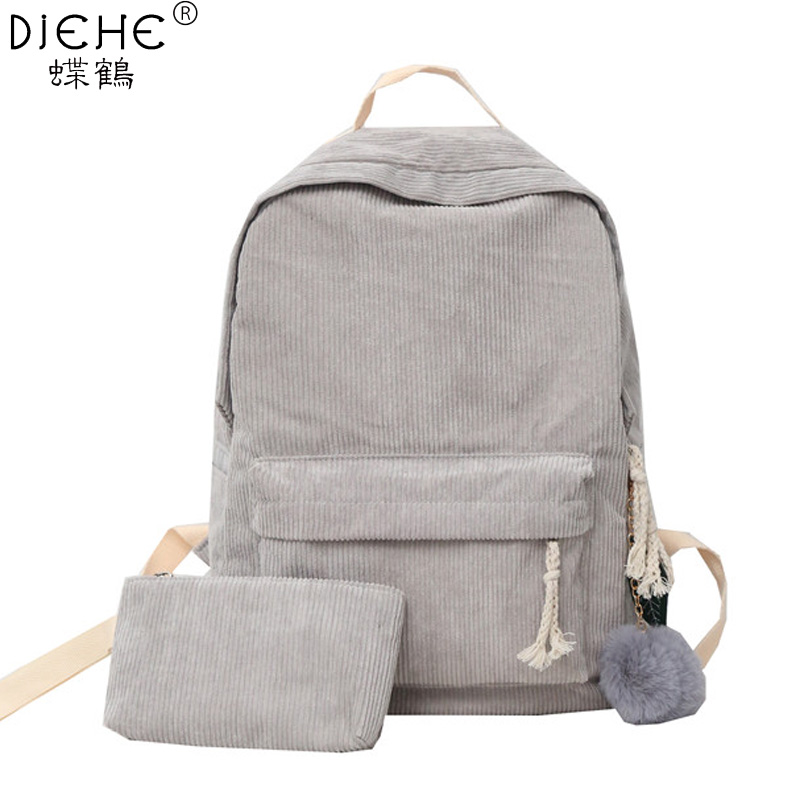 Preppy Style Soft Fabric Backpack Female Corduroy Design School Backpacks Bag For Teenager Girls Striped Backpack 2pcs Set Women