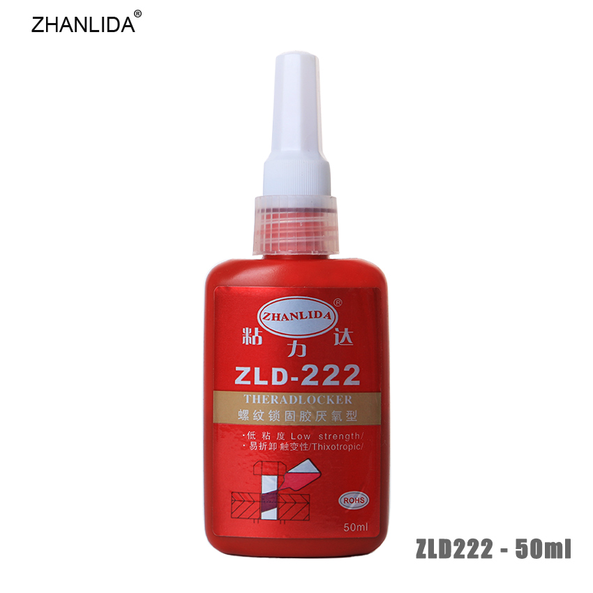 ZHANLIDA 222 50ML Anaerobic Adhesive Metal Screw Lock Screw Glue Thread Seal up Anti Rust Removable Thixotropy Low Strength