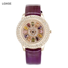 Nueva Moda de Colores de cristal señoras reloj de cuarzo 2017 mujeres de cuero impermeable de los relojes de marca de lujo de pulsera montre femme