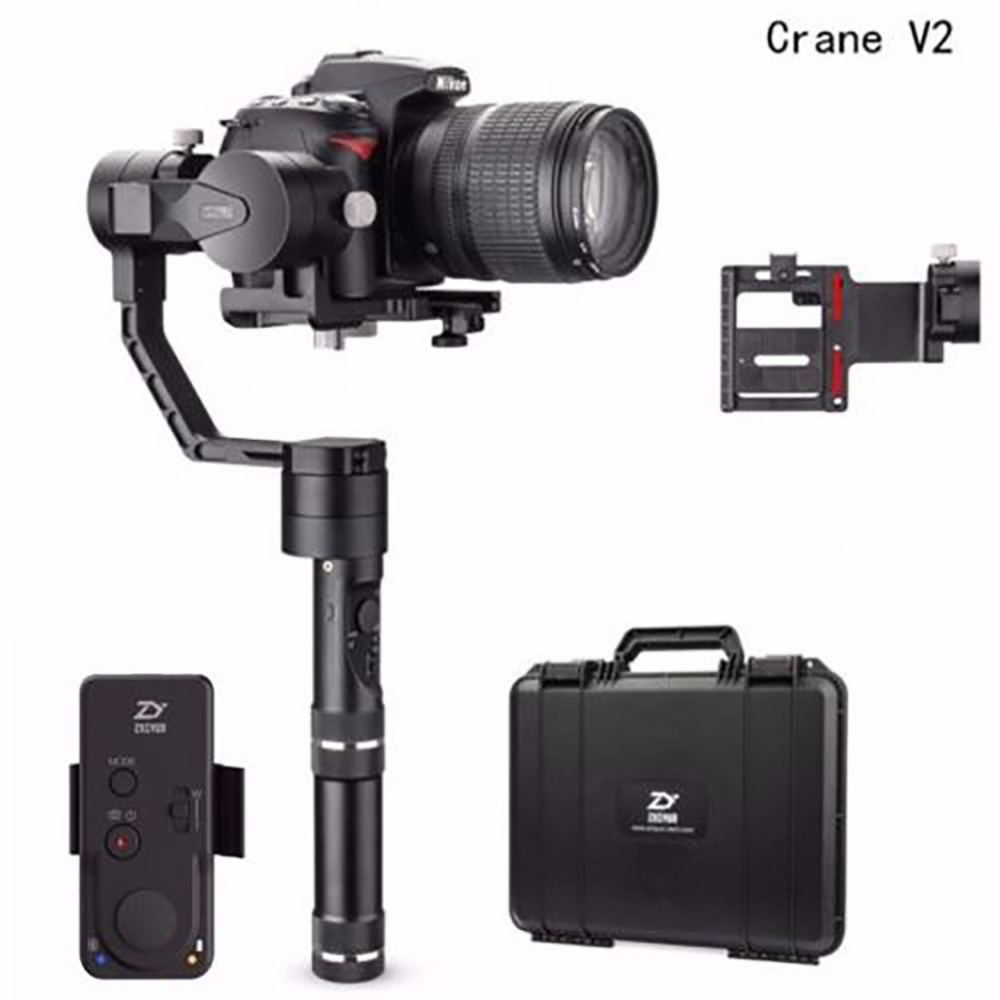Zhiyun Tech Crane V2 3-Axis Bluetooth Handheld Gimbal Stabilizer for ILC Mirrorless Cameras+Remote6+Hard Case,Zhiyun Gimbal yuneec q500 typhoon quadcopter handheld cgo steadygrip gimbal black