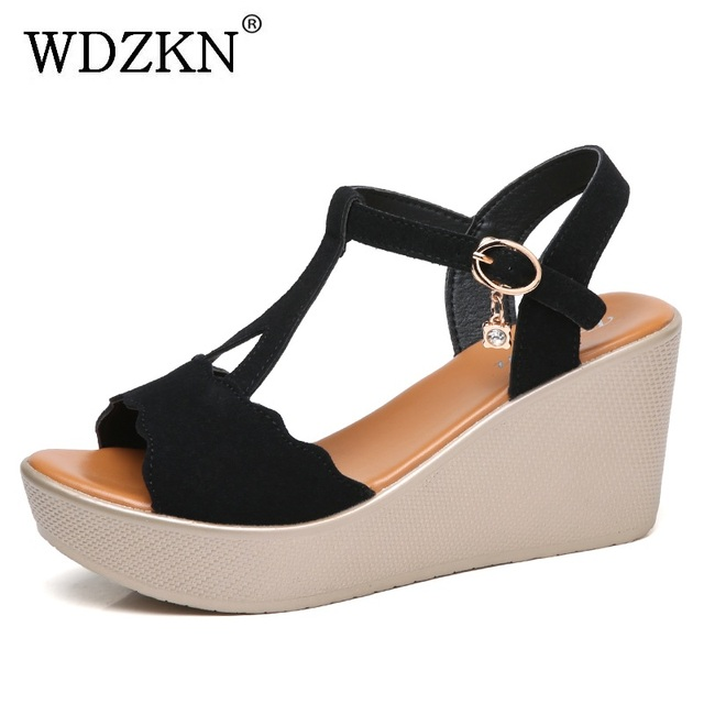2a42f73cb WDZKN New Design Women Wedge Sandals Summer Casual Shoes 2018 Open Toe Cow  Suede Platform Sandals