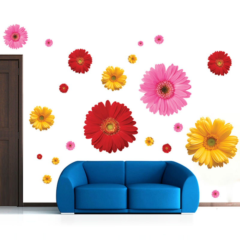 6 designs creative daisy sakura flowers pot wall stickers ...