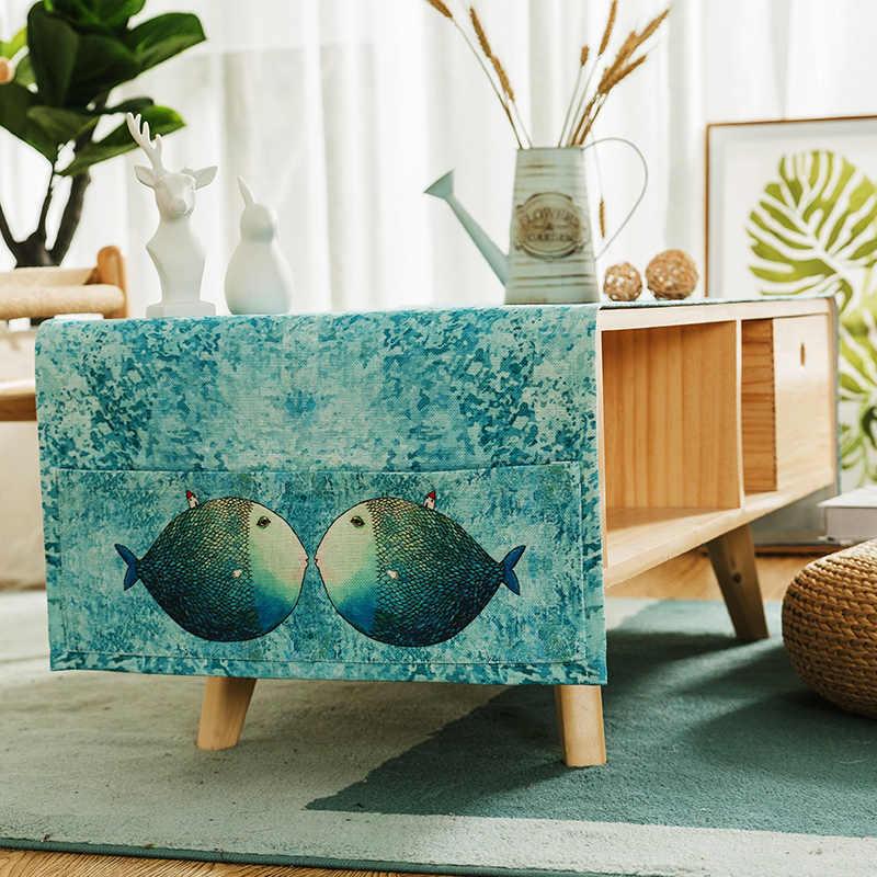 Скандинавские Мультяшные кофейные скатерти, скатерть для гостиной из хлопка, прямоугольная скатерть для телевизора, многофункциональная Пыленепроницаемая скатерть для хранения