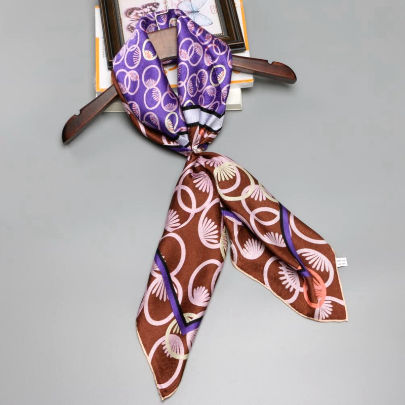 Fashion Jacquard 100% Mulberry Silk Scarf Women Large Square Silk Scarfs Wraps Shawl Hijab Hand Roll 90x90cm