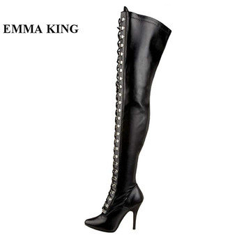 Sexy Black High Heeled Stiletto Boots Pointed Toe Cross-tied Gladiator Thigh High Boots Roman Shoes Women
