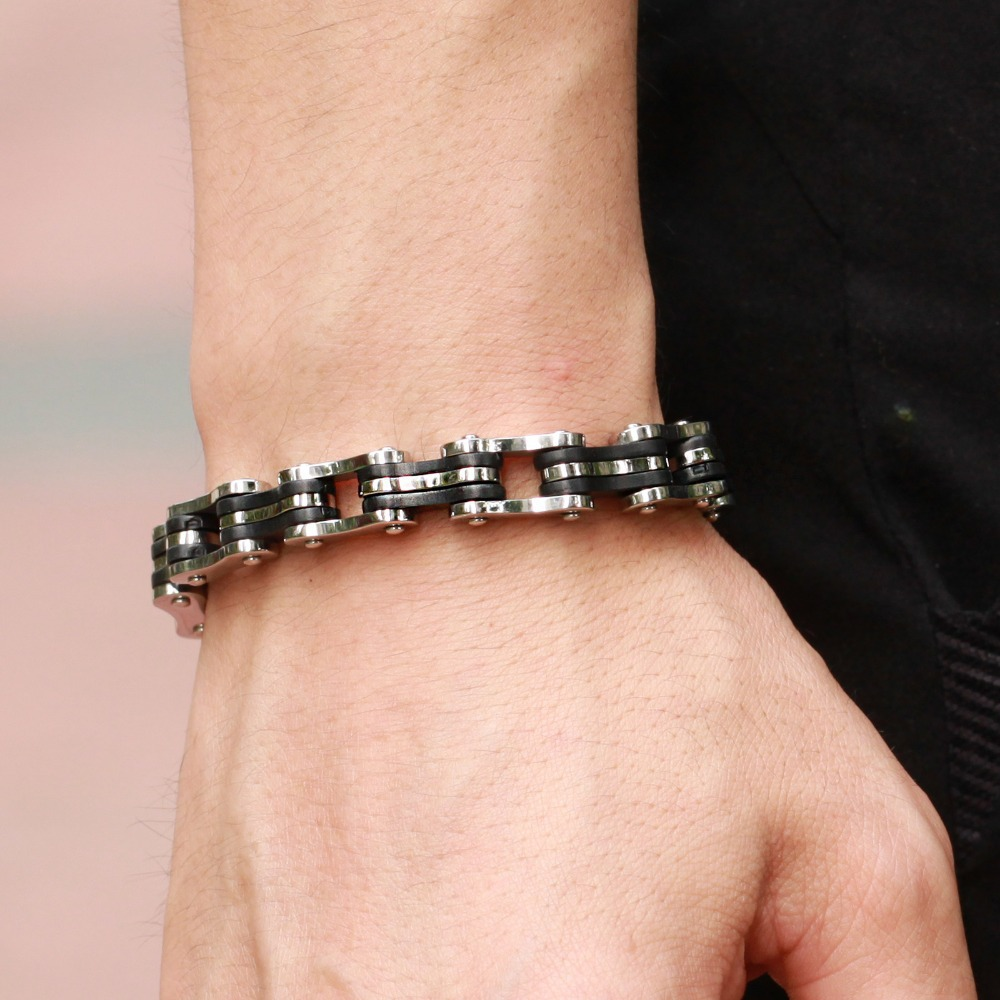 Trustylan Jewelry Stainless Steel Men Bracelet Black Silicone Mens Bracelets Motorcycle Bicycle Chain Bangles 2018 In Link