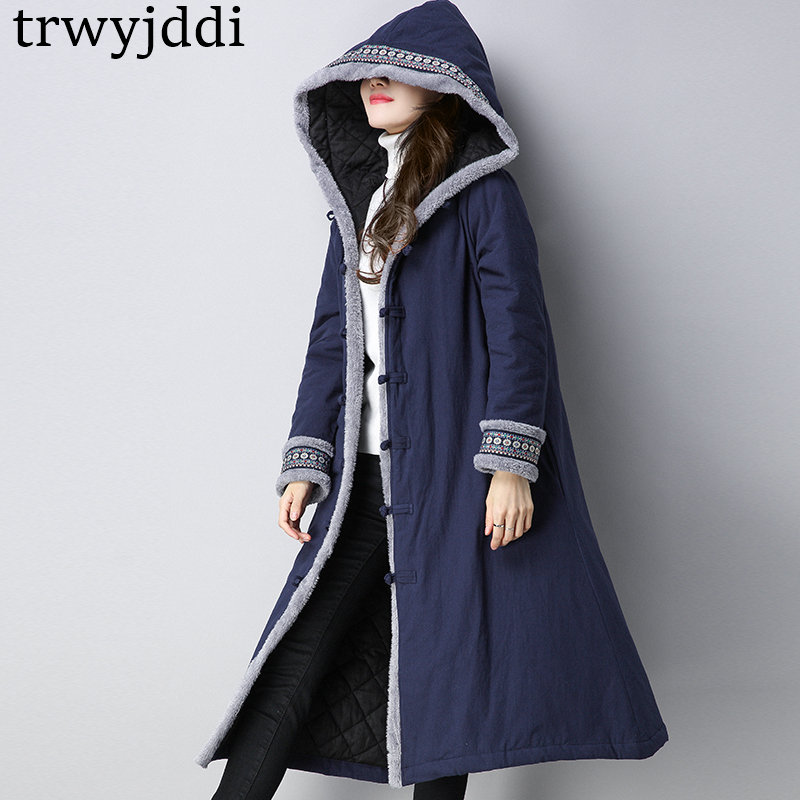 2018 Fashion Hooded Winter Coats Women Retro Folk-custom Plus Size Cotton Padded Jackets Casual Winter   Parka   Outerwear A1592