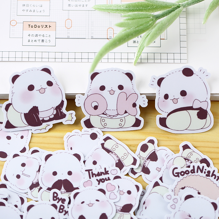 39pcs/pack Handbook Lovely Korean  Cartoon Decoration Handbook Stickers Pack Ins Girl Heart Tool Waterproof Panda Stickers