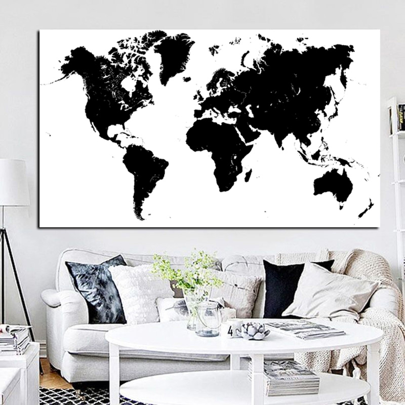 Large Size HD Print Abstract Black And White World Map Modern - Large world map black and white