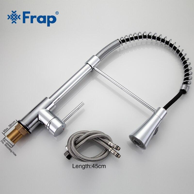 Robinet de cuisine à ressort Frap bec pivotant robinet à poignée unique évier de pulvérisation chromé avec bouton-poussoir robinets abaissables F4452 - 4
