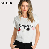 SHEIN T Shirt Women Tops Summer O Neck T Shirt Batwing Sleeve Tassel Detail Embroidery Dolman