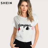 SHEIN T Shirt Women Tops Summer O Neck T Shirt Batwing Sleeve Tassel Detail Embroidery Dolman