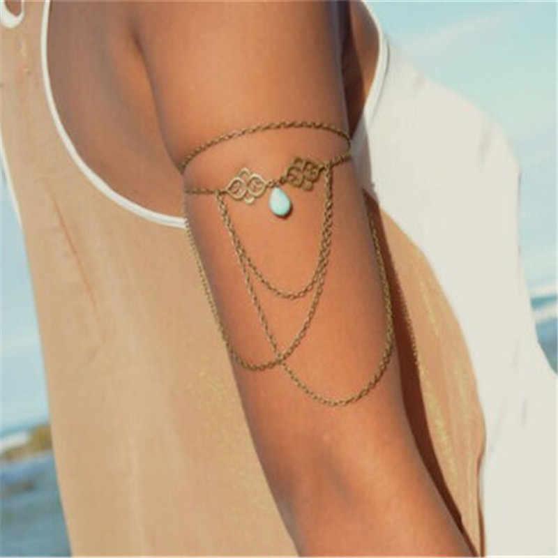 Novo feminino borla braço superior pulseira sexy praia gota de água pingente braçadeira 2k3004
