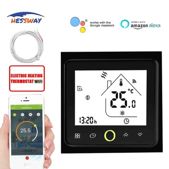 HESSWAY TUYA Smart chip thermoregulator touch screen heating WIFI thermostat heating dual sensor for weekly programmable 16A eu programmable touch screen electric floor heating thermostat wiht double sensor