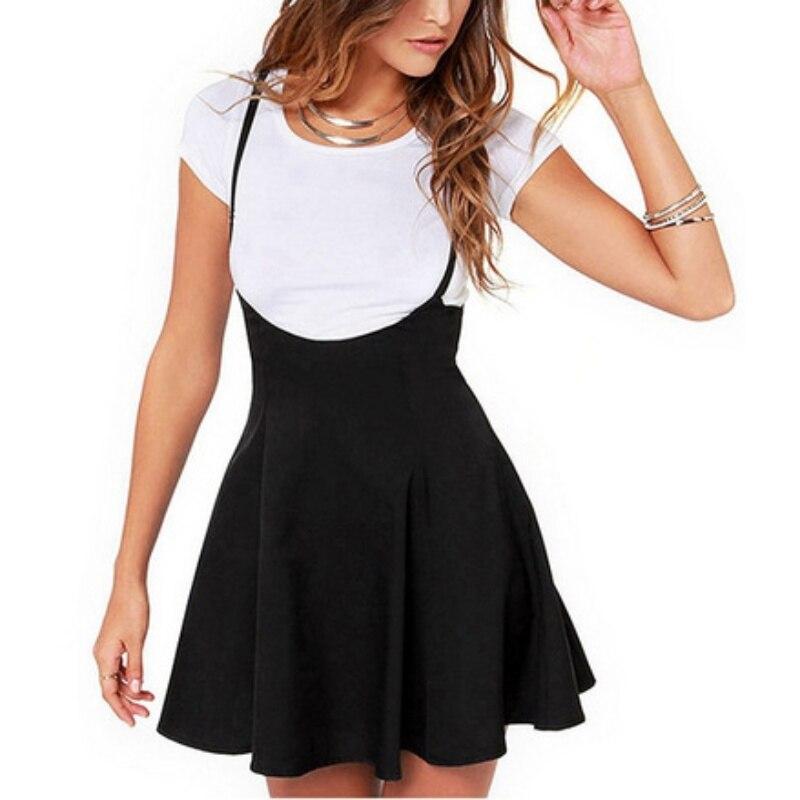 Mujeres negro falda con correas de hombro plisado falda Suspender faldas alta cintura Mini falda de la escuela