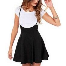 Women Black Skirt with Shoulder Straps Pleated Skirt Suspender Skirts High Waist Mini School Skirt