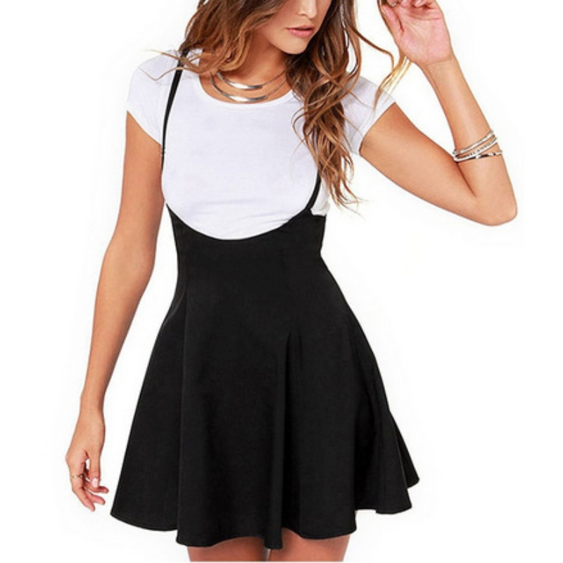 Women Black Skirt with Shoulder Straps Pleated Skirt Suspender Skirts High Waist Mini School Skirt