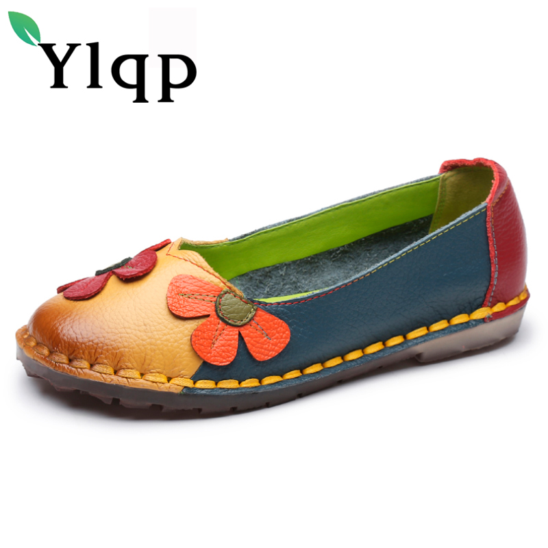 Ylqp Handmade Women's Genuine Leather Shoes Vintage Flowers Cowhide Shoes National Wind Comfortable Soft Soles Female Flats Shoe vintage embroidery women flats chinese floral canvas embroidered shoes national old beijing cloth single dance soft flats