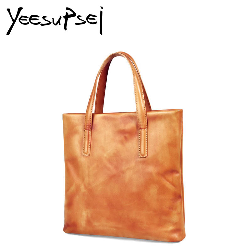 YeeSupSei Vintage Women Tote Simplicity Shoulder Bag Genuine Leather Lady Handbag Messenger Bag Handy Shopping Crossbody Big Bag rdywbu brand genuine leather tote handbag 2017 women colourful flowers patchwork shoulder bag plaid messenger crossbody bag b293