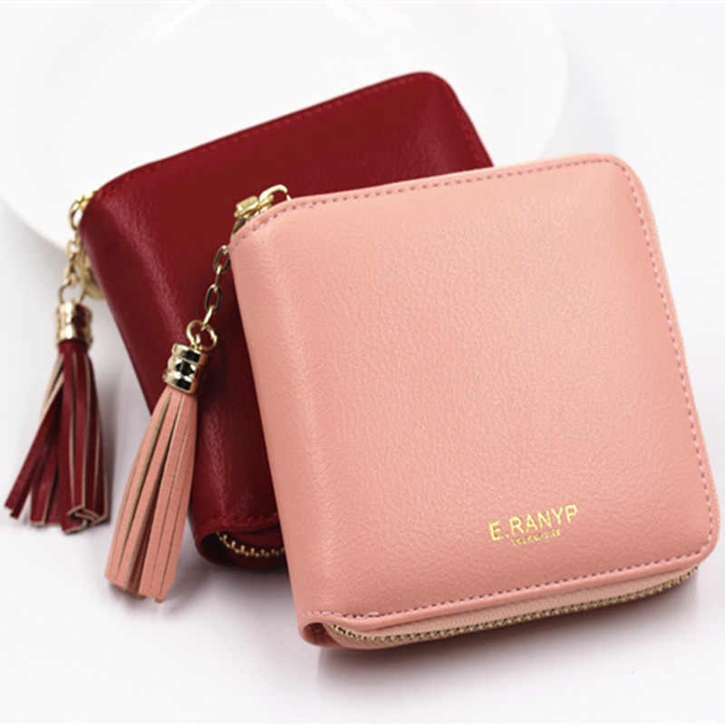 все цены на Women Coin Purses Tassel Coin Bag Female Small Purse Leather Clutch Wallet Mini Purse Pouch Card Holders Monederos Mujer Monedas онлайн