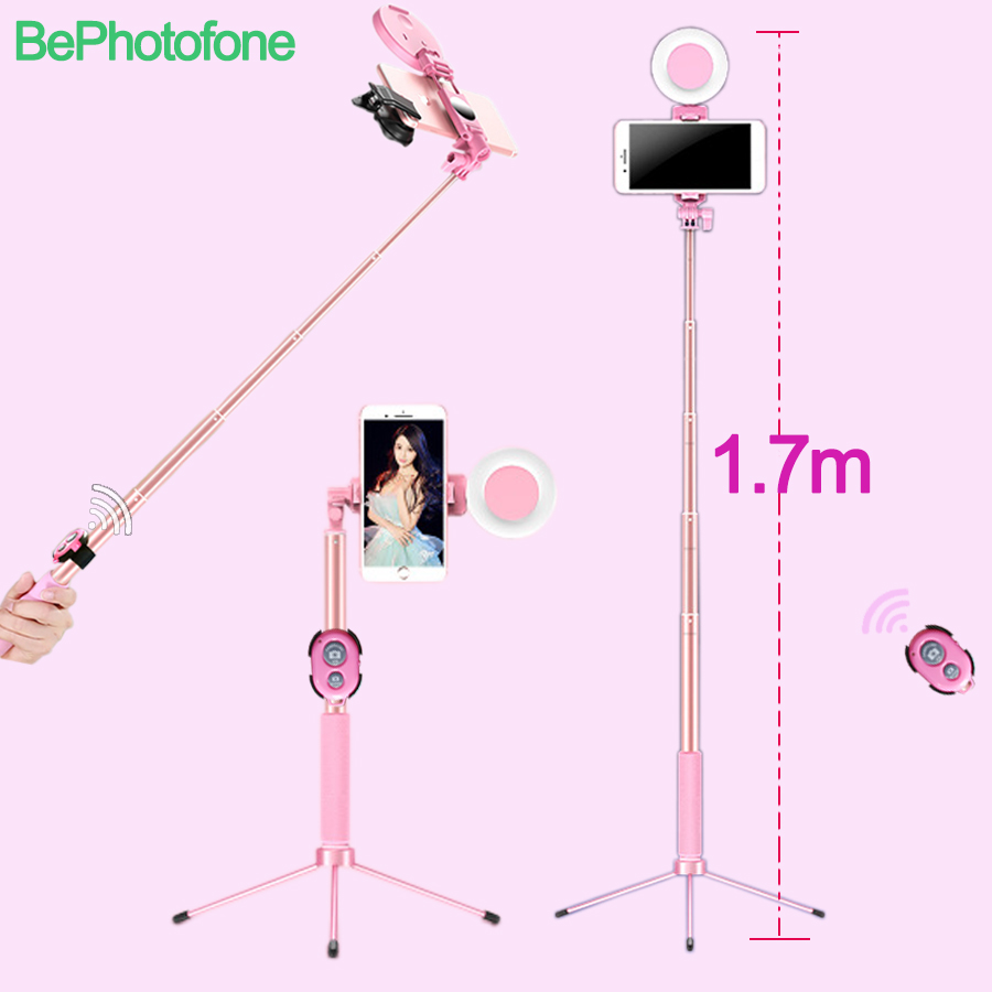 1.7m Extendable live Tripod Selfie Stick LED Ring light Stand 4 in 1 Monopod Phone Mount for iPhone X 8 Android SmartPhone