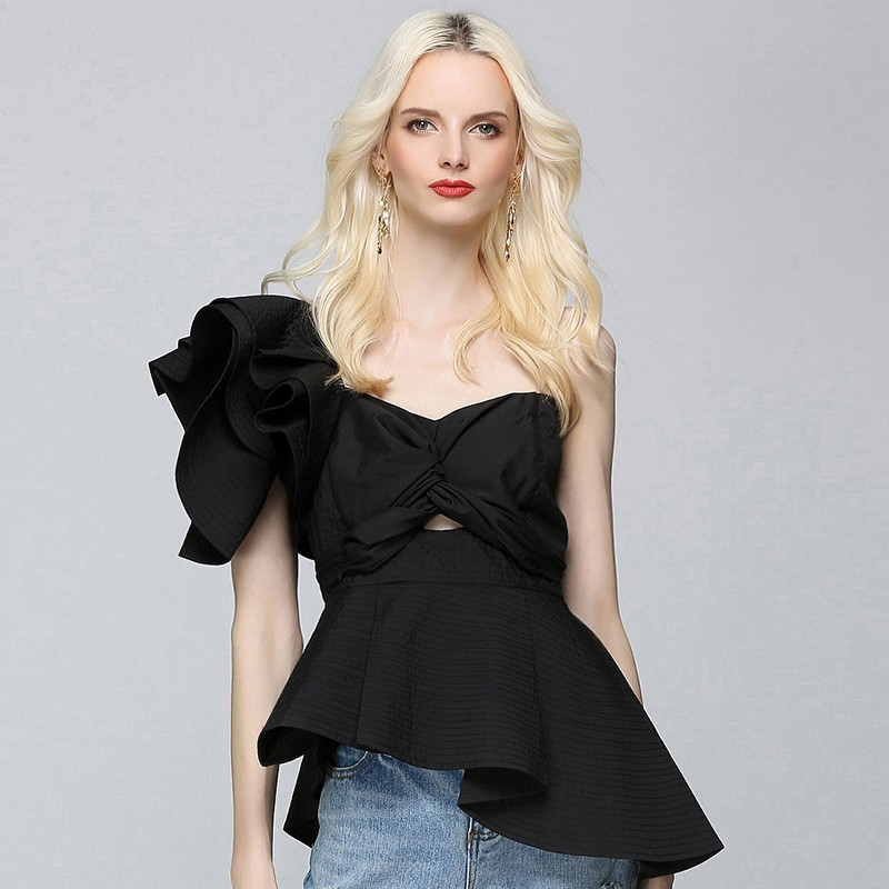 [EAM] 2018 New Summer Women Fashion Tide Black Single Shoulder Sleeve Striped Cascading Ruffles Strapless Shirt Blouse SA027