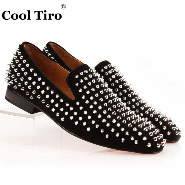 Cool Tiro Studded Spikes Men Loafers Genuine Leather Silver Spiked