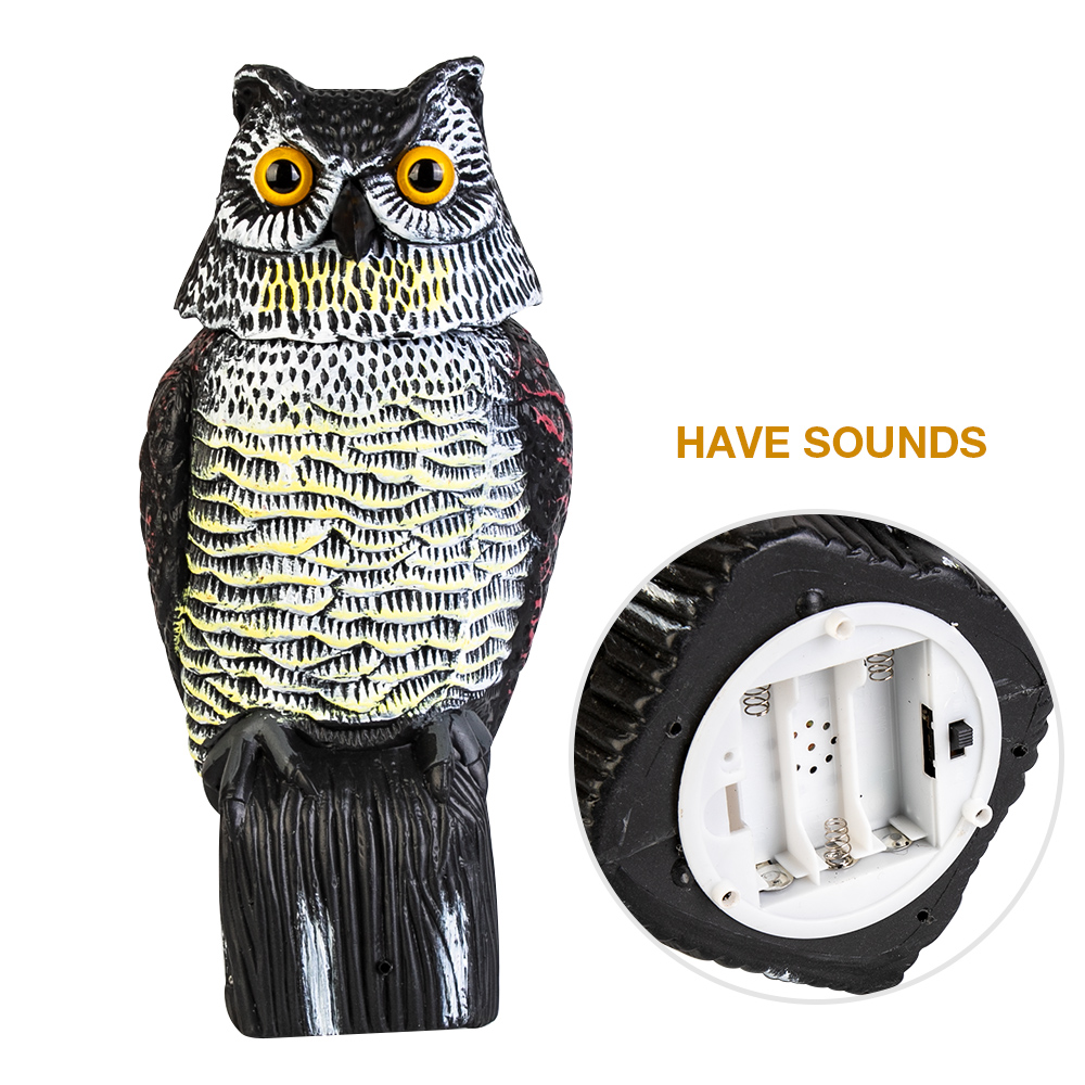 Realistic Bird Scarer Rotating Head Owl Decoy Protection