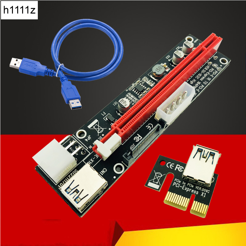 Riser Card PCI-E 1x to 16x Riser Card USB 3.0 Cable 3in1 SATA 4Pin 6Pin Power Supply for Antminer Bitcoin Miner Mining Machine 50cm pci e pci e express 1x to 16x graphics card riser card usb 3 0 extender cable with power supply for bitcoin litecoin miner