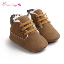 Детские ботинки для маленьких мальчиков и девочек; Толстая Теплая обувь на шнуровке с мягкой подошвой для новорожденных