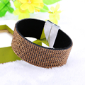 New Fashion 12 Rows Leather bracelet Full Rhinestone Crystal Bracelets For Women Bracelets & Bangles Pulseras Mujer Jewelery