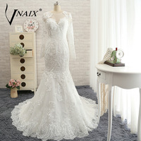 W3109 Popular Vintage Long Mermaid Lace Wedding Dresses 2015 With Long Sleeves IIIusion Neckline Bride Gown