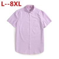 Plus 8XL 6XL 5XL 2018 New Summer short sleeve turndown collar non iron easy care plaid striped business men smart casual shirts