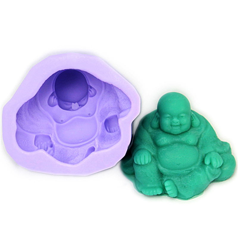 Silicone Soap Mold Form 3D Buddha Shape Craft DIY Soap Making Mould Fondant Chocolate Decoration in Soap Molds from Home Garden
