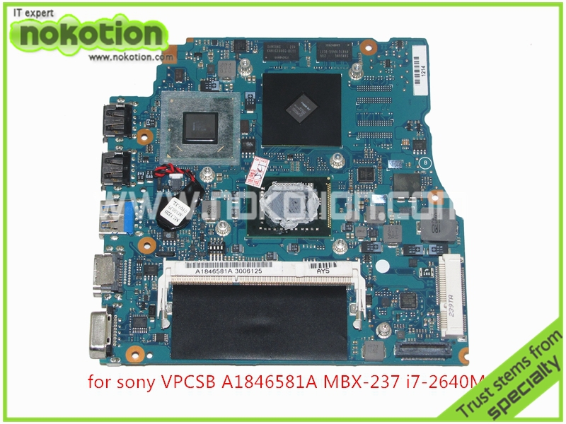 MBX-237 A1846581A V032 MP 10L HDI MB Laptop Motherboard For SONY VAIO VPCSB A1846581A HM65 ATI HD 6470M+I7-2640M+4G
