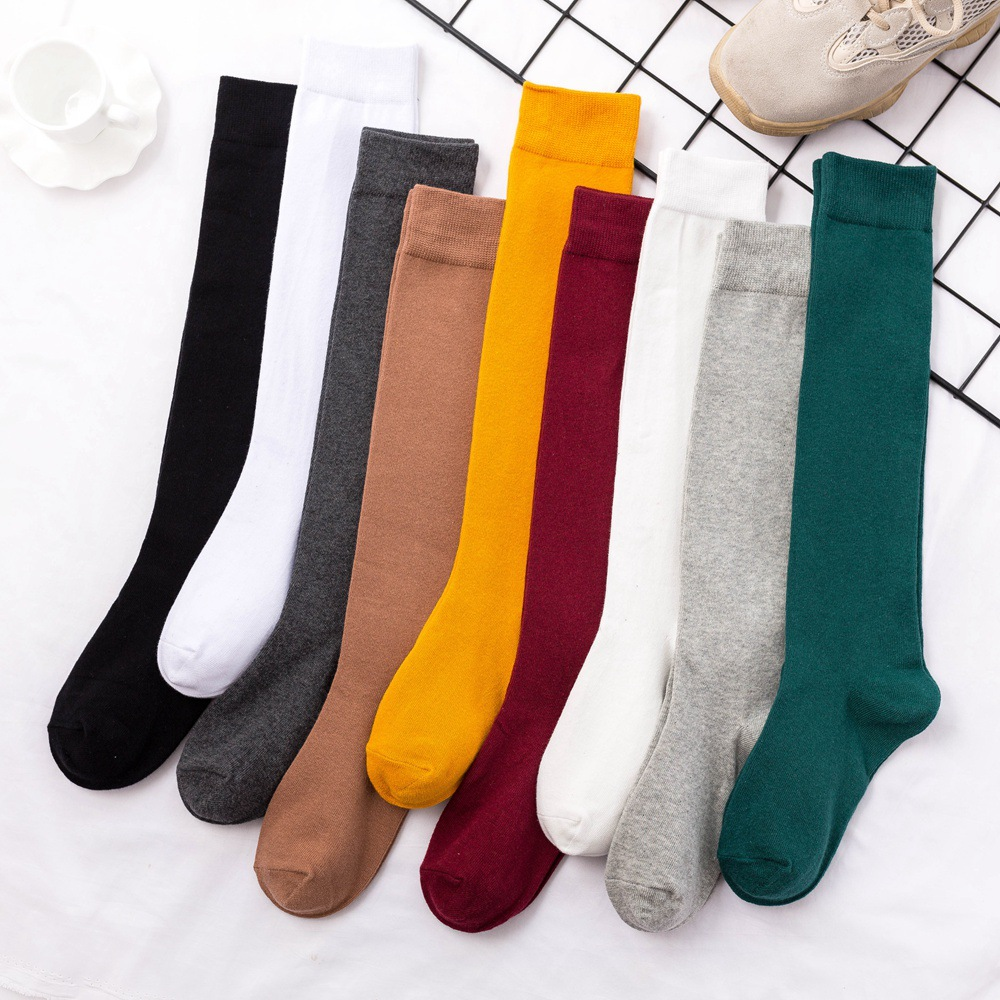 8 Colors Socks For Women Cotton Autumn Winter Long Socks Harajuku Female Casual Trick Warm Sock Ladies Solid Color Sox 2019