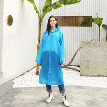 Fashion Lightweight EVA Women Raincoat Thickened Waterproof Hooded Clear Transparent Camping Rainwear Suit