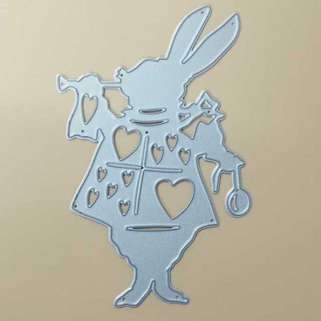 Чудес алиса Белый Кролик Резки Металла Умирает Трафарет DIY Скрапбукинг Декоративные Ремесло Фотоальбом Тиснение Папки Бумаги