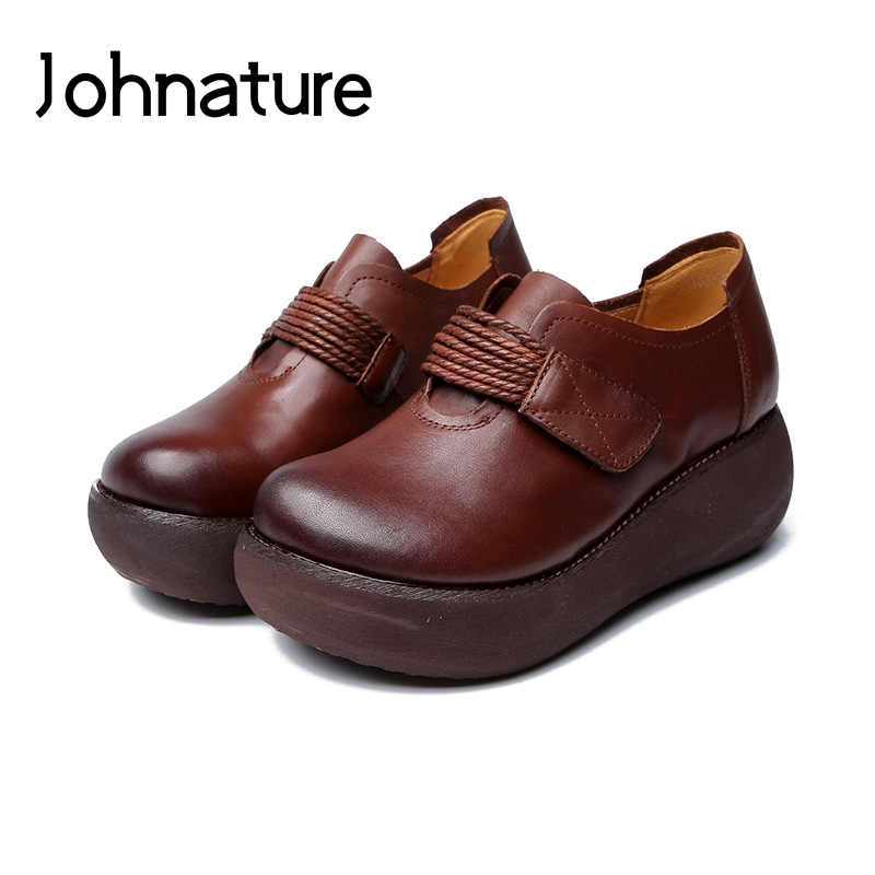 Johnature 2019 New Spring Autumn Genuine Leather Round Toe Retro Casual Hook Loop Wedges Platform Women