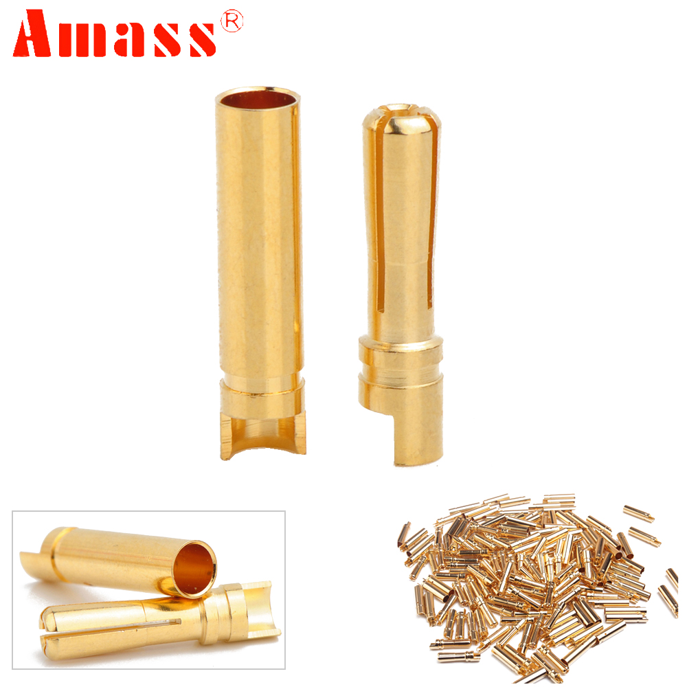50pair/lot AMASS 4.0mm 4mm Gold Plated Bullet Connector For RC Battery ESC And Motor Helicopter Boat Quadcopter
