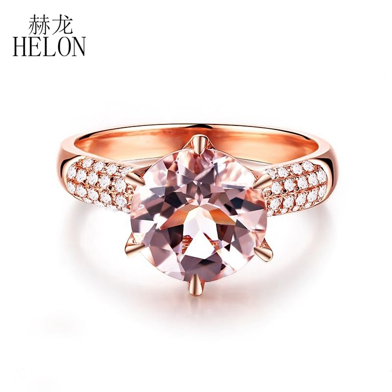 HELON Free shipping Flawless 3ct 9mm Round Cut Genuine Morganite Solid 14K Rose Gold Natural Diamonds Engagement Wedding Ring