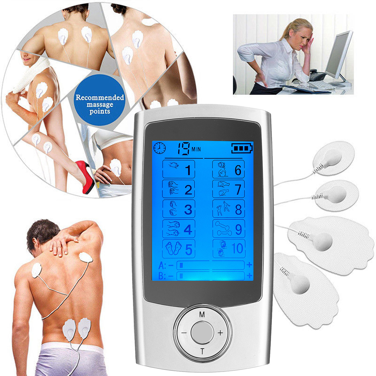 10/A B Modes Healthy Care Digital Electronic Pulse Massager with Ten Unit Therapy Muscle Full Body Massager LCD Display
