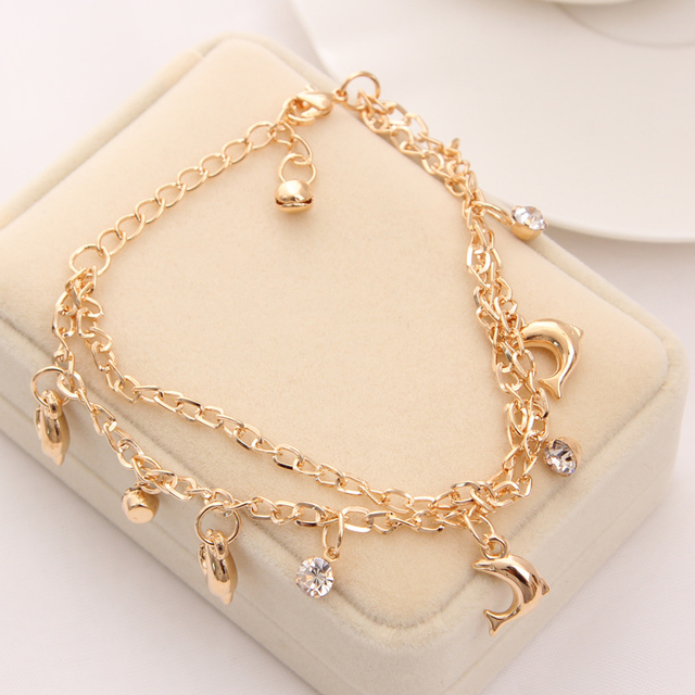 New Women Girls Fashion Fine Gold Women 10 Charm Dolphin Crystal