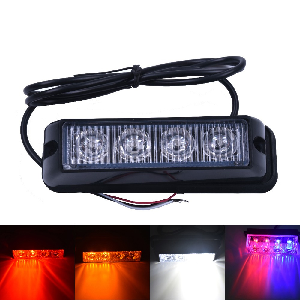 4 LED Rød Blå Gul Hvid Bil Politilamper Flash Truck Nødfyr Beacon Light Bar Hazard Strobe Advarsel Policia Universal